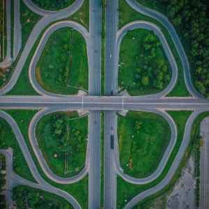 Aero view of a major intersection of highway that resembles a cloverleaf