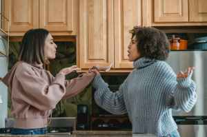 Two ladies arguing.  One in a tan hoodie,  the other in blue sweater