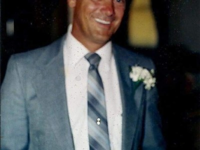 My dad in blue suit