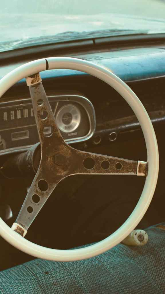 Inside of old 60s Ford vehicle