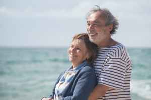 Middle aged couple looking over ocean