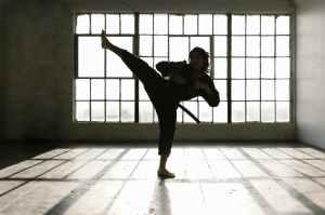 Person do karate kick
